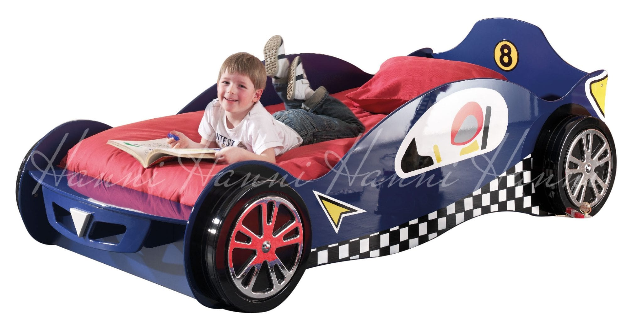 Home car beds standard rx1 blue race car bed